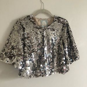 Gorgeous silver sequin crop jacket Tracy Reese Med